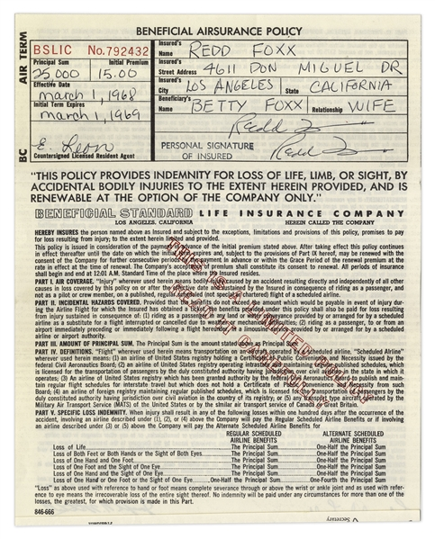 Redd Foxx of ''Sanford & Son'' Signed Airsurance Policy From 1968 -- 8.5'' x 11'' -- Near Fine Condition -- From Redd Foxx Estate
