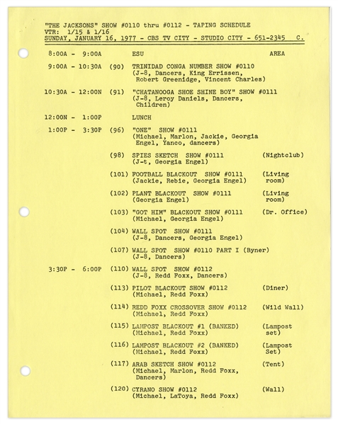 ''The Jacksons'' TV Script & Taping Schedule From January 1977 With Numerous Guest Stars Listed -- 47 Pages -- Near Fine Condition -- From Redd Foxx Estate, Who Guest Starred