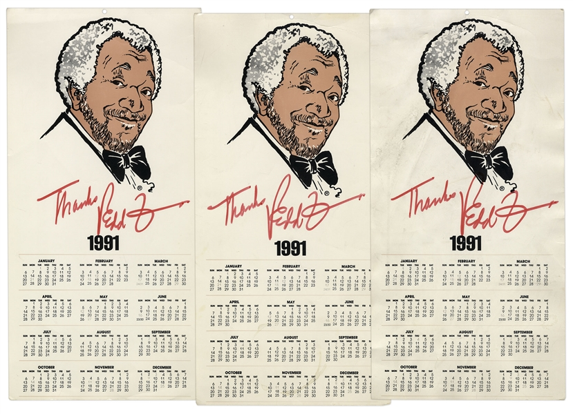 Redd Foxx of ''Sanford & Son'' Signed Calendar Posters From 1991 -- Lot of 3, 8.5'' x 17'' -- Very Good Condition -- From Redd Foxx Estate