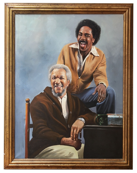 ''Sanford & Son'' Oil Painting by Artist Russell Dobson -- Measures 36'' x 48'' Unframed -- 2 Closed Tears in Canvas (3'' and 1''), Overall Very Good Condition -- From Redd Foxx Estate