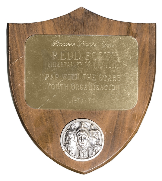 Engraved ''Harlem Loves You'' Entertainer of the Year Award Given to Redd Foxx of ''Sanford & Son'' in 1974 -- 6.75'' x 7.75'' x 0.25'' -- Very Good Condition -- From Redd Foxx Estate