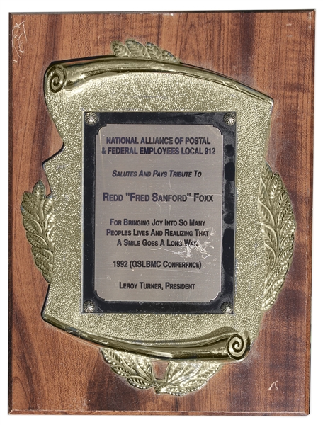 Redd Foxx Award -- 9'' x 12'' Plaque Given by National Alliance of Postal & Federal Employees ''For Bringing Joy Into So Many People's Lives'' -- Good Condition -- From Redd Foxx Estate