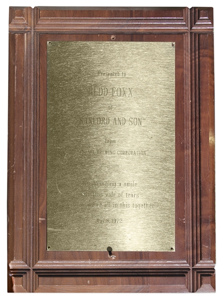 Falstaff Brewing Award Given to Redd Foxx of ''Sanford & Son'' in 1972 -- Wood & Metal, 10'' x 14'' x 0.75'' -- Very Good Condition -- From Redd Foxx Estate