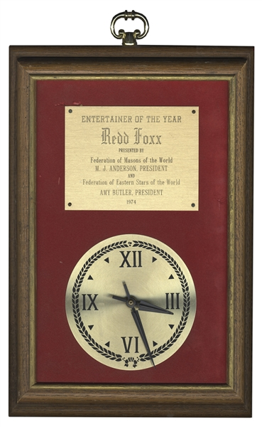 Federation of Masons Entertainer of the Year Clock Award Given to Redd Foxx in 1974 -- Wood & Metal, 11.5'' x 16'' x 1.5'' -- Very Good Condition -- From Redd Foxx Estate