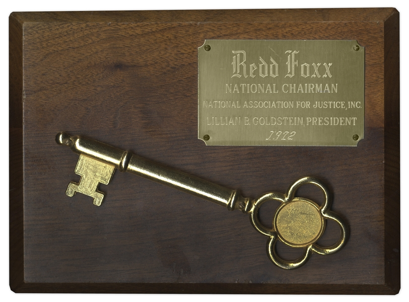 Redd Foxx Commemorative Key and Plaque -- 10'' x 8'' Plaque Awarded in 1972 by National Association For Justice -- Light Scratching to Wood, Else Near Fine -- From Redd Foxx Estate