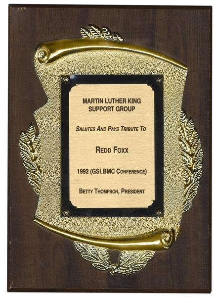 Redd Foxx's Martin Luther King Support Group Plaque -- Awarded During 1992 Greater St. Louis Black Media Coalition Conference -- 9'' x 12'' Plaque -- Very Good to Near Fine