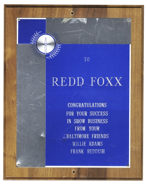 Redd Foxx Plaque -- ''Congratulations For Your Success In Show Business From Your Baltimore Friends'' -- 10.5'' x 13'' Wooden Plaque, in Very Good Condition -- From Redd Foxx Estate