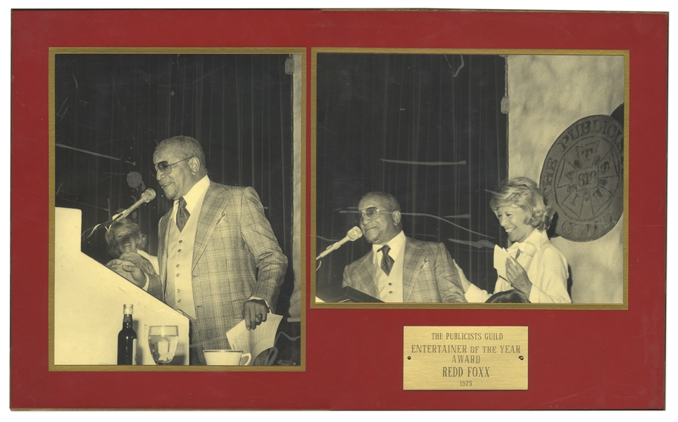 Redd Foxx ''Entertainer of the Year Award'' From The Publicists Guild -- Two Candid Photos of Foxx at 1975 Awards Ceremony -- 21'' x 12.5'' -- Very Good Condition -- From Redd Foxx Estate