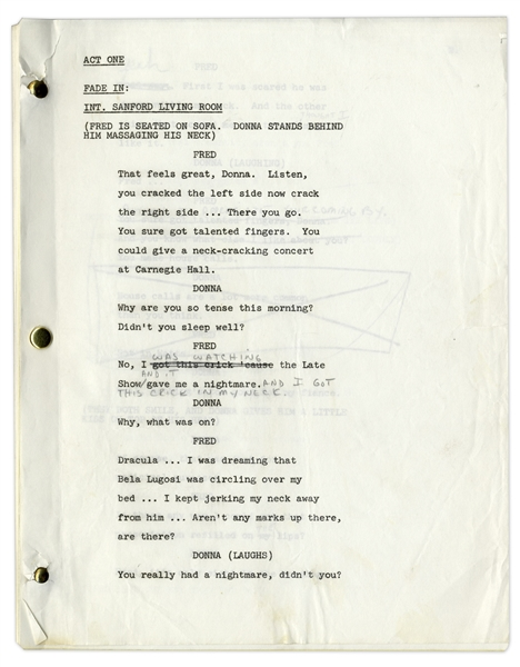 ''Sanford & Son'' Script Owned & Annotated by Redd Foxx -- 39 Pages, Missing Cover -- Very Good Condition -- From Redd Foxx Estate