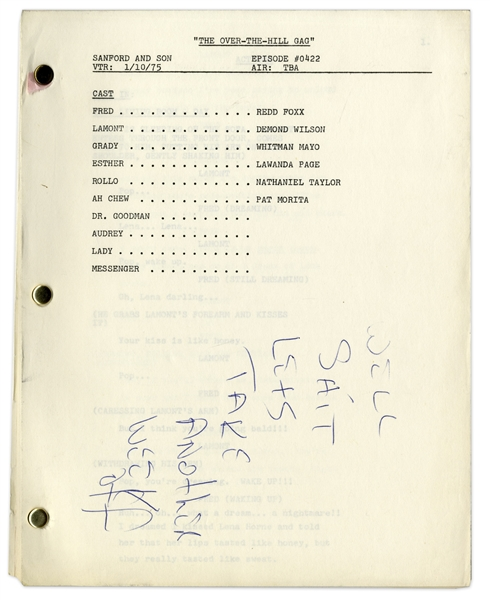 ''Sanford & Son'' Season 4, Episode 24 Script Owned by Redd Foxx, With Humorous Note by Him Written on First Page -- 41 Pages, Missing Cover -- Very Good Condition -- From Redd Foxx Estate