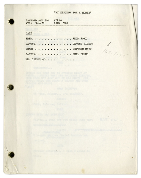 ''Sanford & Son'' Season 4, Episode 8 Script Owned & Annotated by Redd Foxx -- 37 Pages, With Missing Cover -- Very Good Condition -- From Redd Foxx Estate