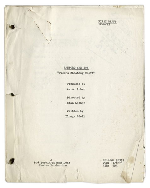 ''Sanford & Son'' Season 3, Episode 17, First Draft Script From 1973 Owned & Annotated by Redd Foxx -- Good Condition -- From Redd Foxx Estate