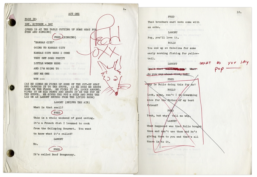 ''Sanford & Son'' Script Owned & Annotated by Redd Foxx (Who Draws a ''Red Fox'') -- 44 Pages, Missing Cover -- Very Good Condition -- From Redd Foxx Estate