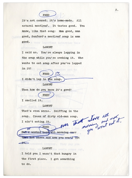 ''Sanford & Son'' Script Owned & Annotated by Redd Foxx -- 34 Pages, Missing Cover -- Very Good Condition -- From Redd Foxx Estate