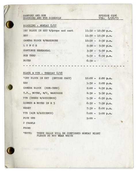 ''Sanford & Son'' Script & Rehearsal Schedule From 1973 Owned by Redd Foxx -- 47 Pages, Missing Cover -- Very Good Condition -- From Redd Foxx Estate