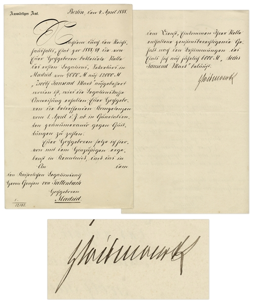 Otto von Bismarck Document Signed From 1888 as First Chancellor of Germany