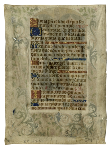 15th Century Hand-Painted Manuscript Page From ''Book of Hours'' -- Illustrates Presentation of Jesus Christ