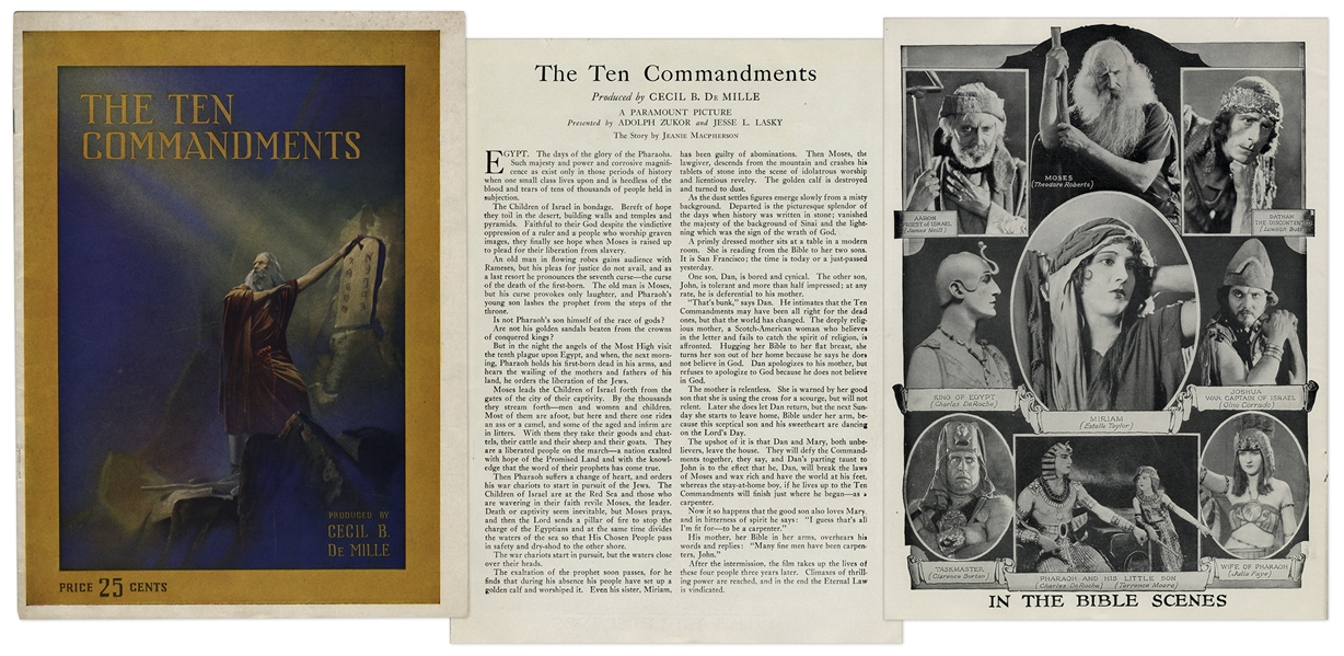 1923 Theater Brochure for Cecil B. DeMille's ''The Ten Commandments''