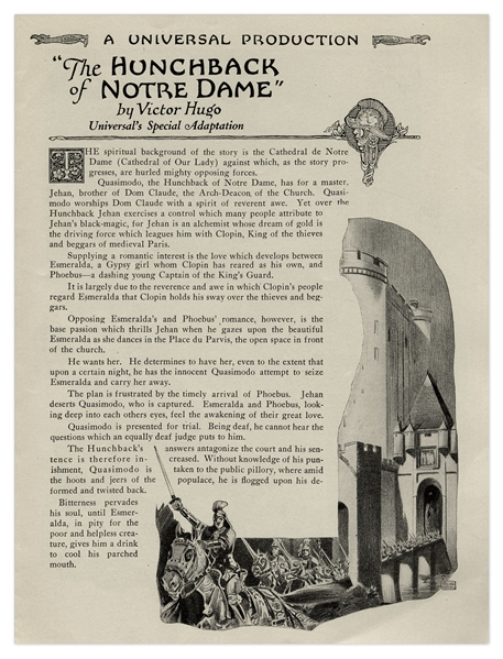 1923 Theater Brochure for ''The Hunchback of Notre Dame''