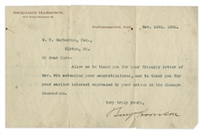 Benjamin Harrison Typed Letter Signed as President-Elect in November 1888