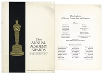 Oscars Program From the 35th Annual Academy Awards in 1963 -- The Year Lawrence Of Arabia Won Best Film