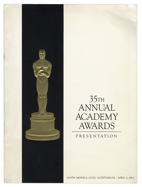 Oscars Program From the 35th Annual Academy Awards in 1963 -- The Year ''Lawrence Of Arabia'' Won Best Film