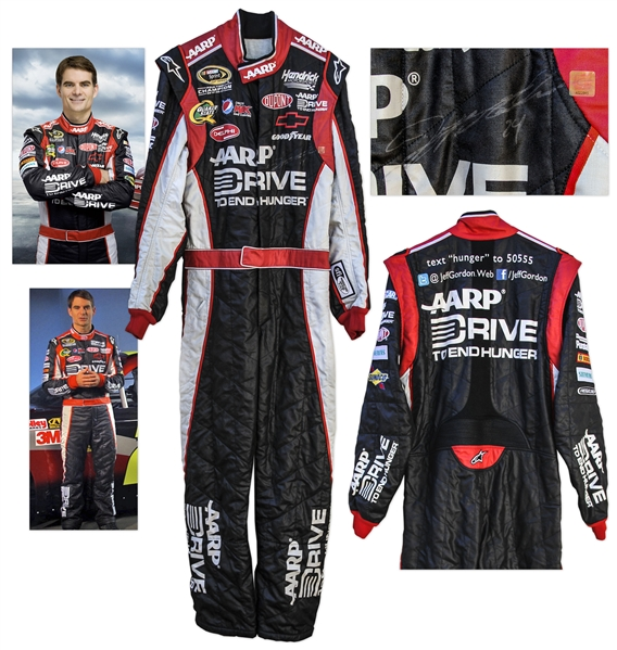 Jeff Gordon Race-Worn & Signed Fire Suit -- 4-Time Champion, 3-Time Daytona 500 Winner
