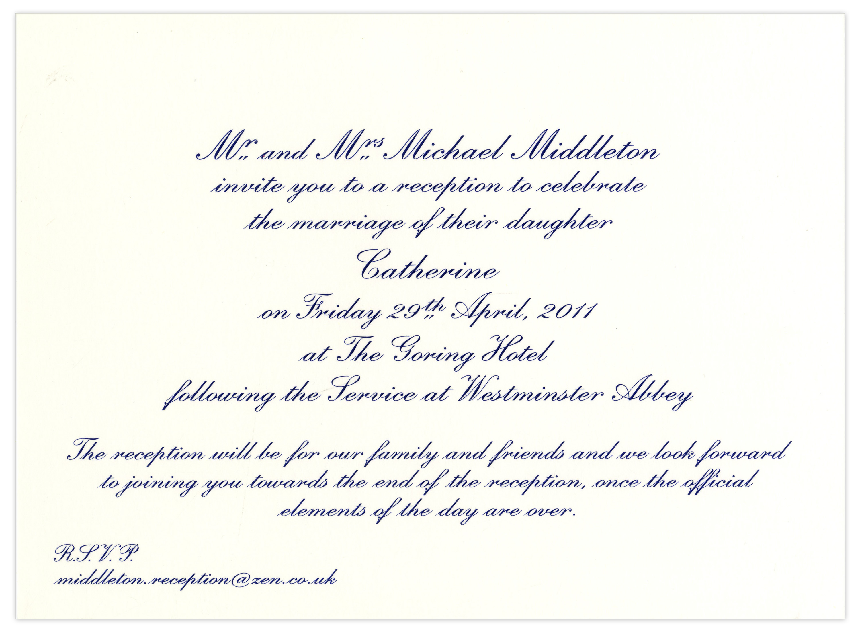 Lot Detail Prince William And Kate Middleton Wedding Reception