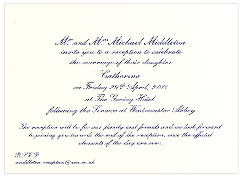 Lot Detail - Prince William and Kate Middleton Wedding Reception ...