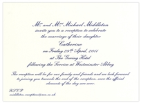 Prince William and Kate Middleton Wedding Reception Invitation -- Private Party Reception Hosted by Kates Family