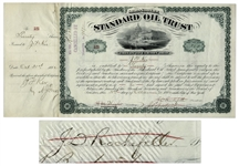 John D. Rockefeller Signed Stock Certificate for Standard Oil Trust -- Signed by Rockefeller as President in 1882