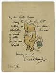 Ink and Watercolor Drawing by E.H. Shepard of Winnie-the-Pooh & Piglet -- Extraordinarily Scarce Drawing by Shepard of the Most Famous Childrens Character -- With Provenance From Sothebys