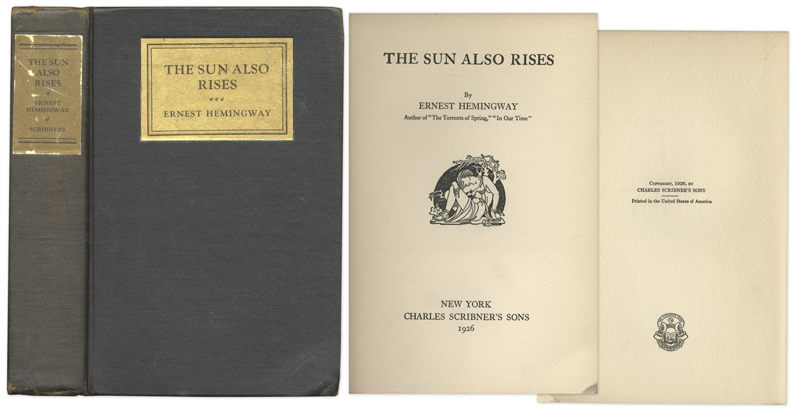 First Edition of Ernest Hemingway's ''The Sun Also Rises'' -- Beautiful Hardcover Edition of a Literary Masterpiece