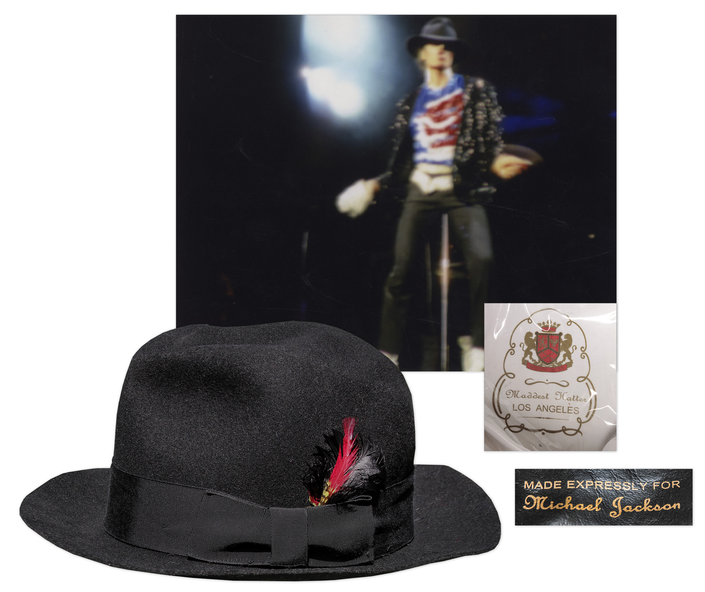 Michael Jackson Fedora worn by him Michael Jackson's Famous Stage-Worn Black Fedora -- From 1984 ''Victory'' Tour
