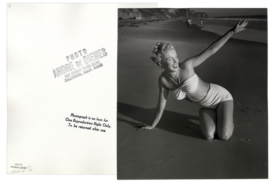 Original 1946 Photograph of Marilyn Monroe Taken by Andre de Dienes -- With de Dienes Backstamps, Developed by Him From His Negative -- Large Format Photo Measures 11'' x 12.25''