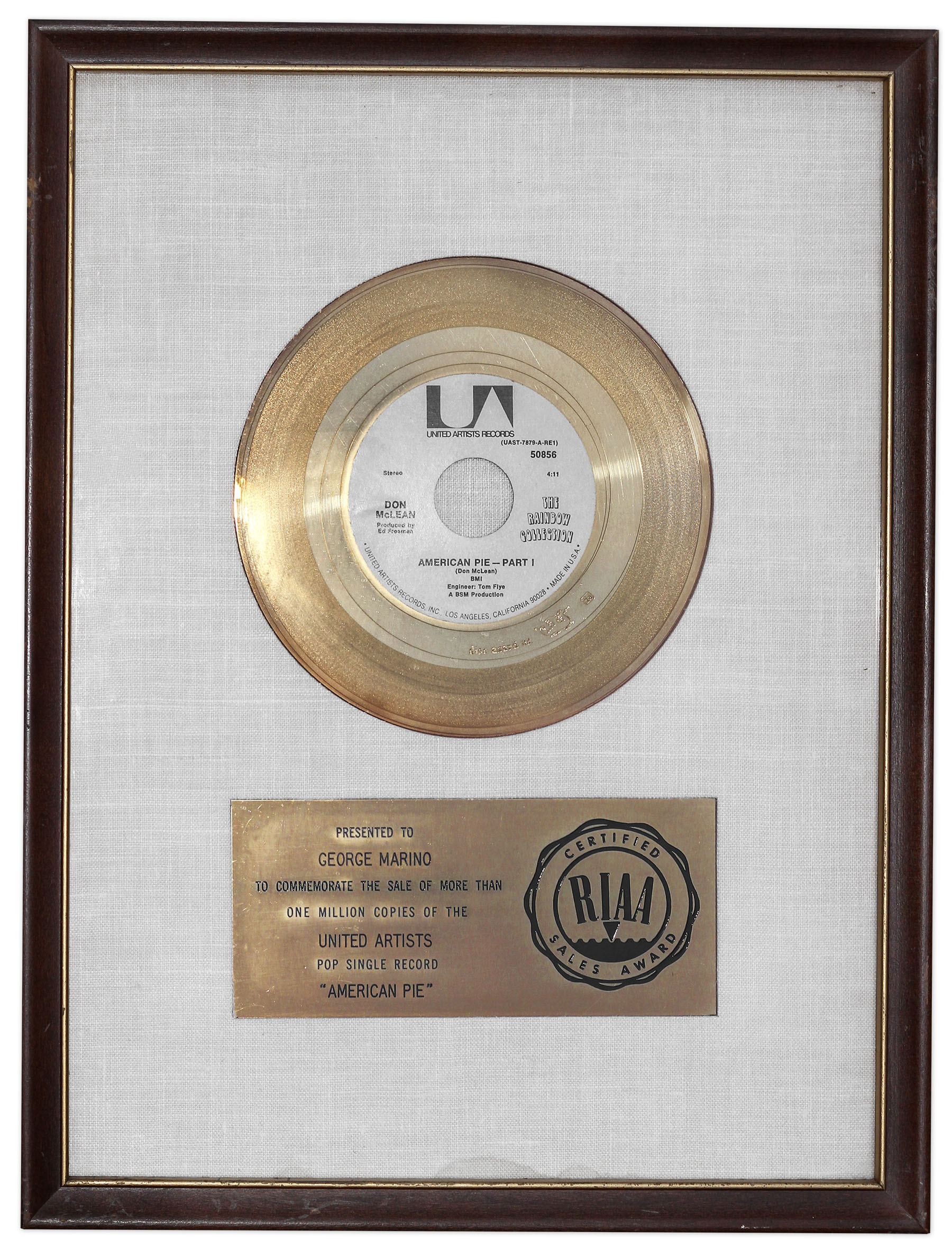 Lot Detail - Don McLean\'s \'\'American Pie\'\' RIAA Gold Record ...