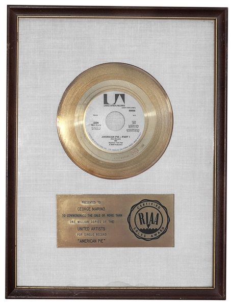 Don McLean's ''American Pie'' RIAA Gold Record -- Presented to Grammy Award Winning Master Sound Engineer George Marino & From His Estate