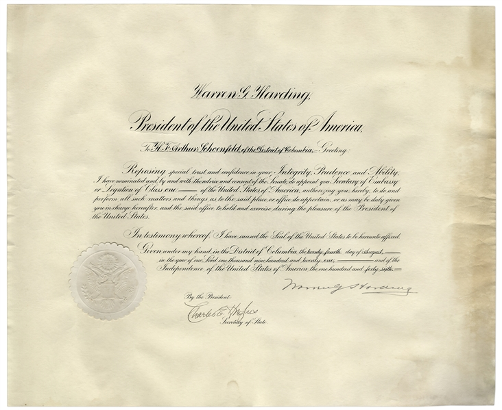 Warren Harding Document Signed as President -- Harding Appoints H.F. Arthur Schoenfeld Secretary of Embassy