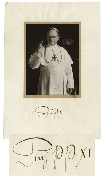 Pope Pius XI Signed Photo Display Measuring 14'' x 20''