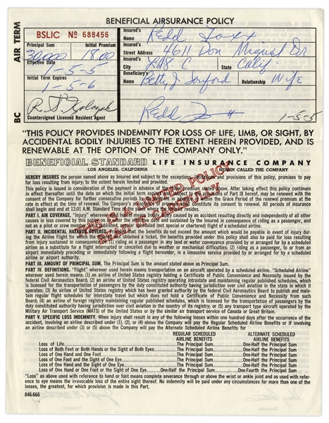 Lot of 3 Insurance Policies Signed by Redd Foxx of ''Sanford & Son'' -- 2 From USO in 1967 During Vietnam War -- 8.5'' x 11'' -- Very Good Condition -- From Redd Foxx Estate