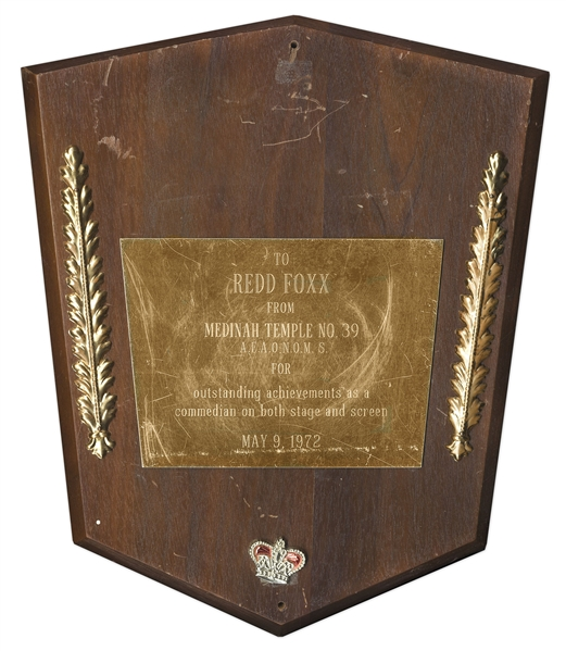 Award Given to Redd Foxx of ''Sanford & Son'' From Medinah Temple No. 39 on 9 May 1972 -- Wood & Metal, 11'' x 14'' x 0.75'' -- Good Condition -- From Redd Foxx Estate