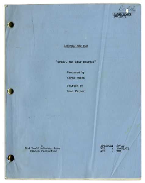 ''Sanford & Son'' Season 3, Episode 12 Final Draft Script Owned & Annotated by Redd Foxx -- 44 Pages -- Very Good Condition -- From Redd Foxx Estate