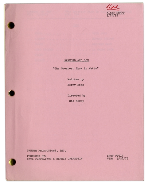 ''Sanford & Son'' Season 5, Episode 15 First Draft Script Owned by Redd Foxx -- 41 Pages -- Near Fine Condition -- From Redd Foxx Estate
