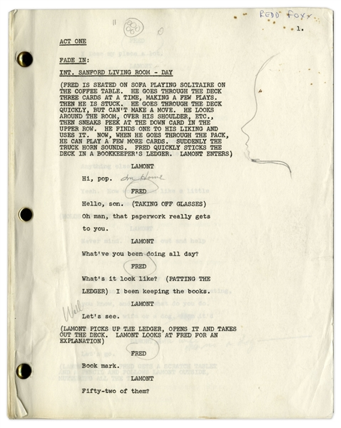 ''Sanford & Son'' Script Owned & Annotated by Redd Foxx -- 45 Pages, Missing Front Cover -- Very Good Condition -- From Redd Foxx Estate