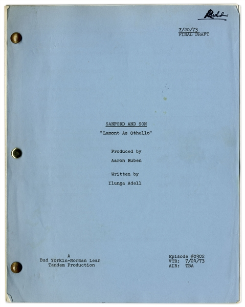 ''Sanford & Son'' Season 3, Episode 1 Final Draft Script Owned & Annotated by Redd Foxx -- 47 Pages -- Very Good Condition -- From Redd Foxx Estate