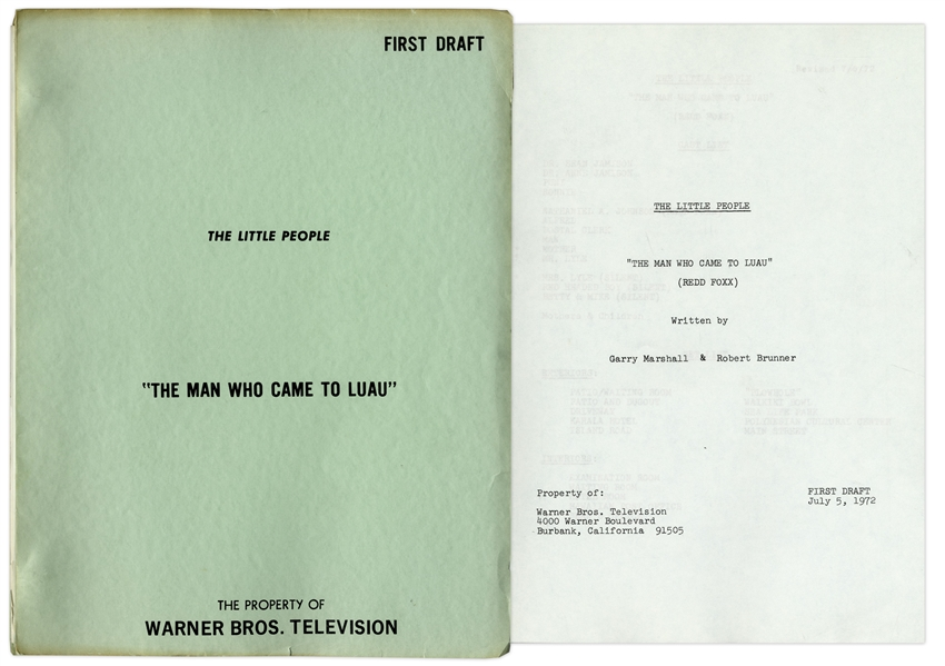 ''The Little People'' First Draft Script for Episode ''The Man Who Came to Luau'', Owned by Redd Foxx -- Written by Garry Marshall -- 38pp. -- Very Good Condition -- From Redd Foxx Estate