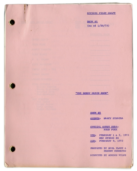 ''The Bobby Darin Show'' Episode 5 Revised First Draft Script Owned by Special Guest Star, Redd Foxx of ''Sanford & Son'' -- 70 Pages -- Very Good Condition -- From Redd Foxx Estate