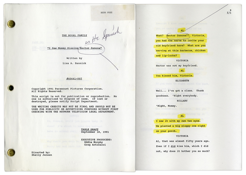 ''The Royal Family'' Episode 7 Table Draft Script Owned & Annotated by Redd Foxx of ''Sanford & Son'' -- Dated Weeks Before Foxx's Death -- Very Good Condition -- From Redd Foxx Estate