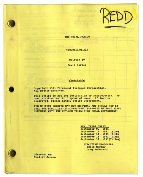 ''The Royal Family'' Episode 7 Revised Table Draft Script Owned & Annotated by Redd Foxx -- Dated Weeks Before Foxx's Death -- Very Good Condition -- From Redd Foxx Estate