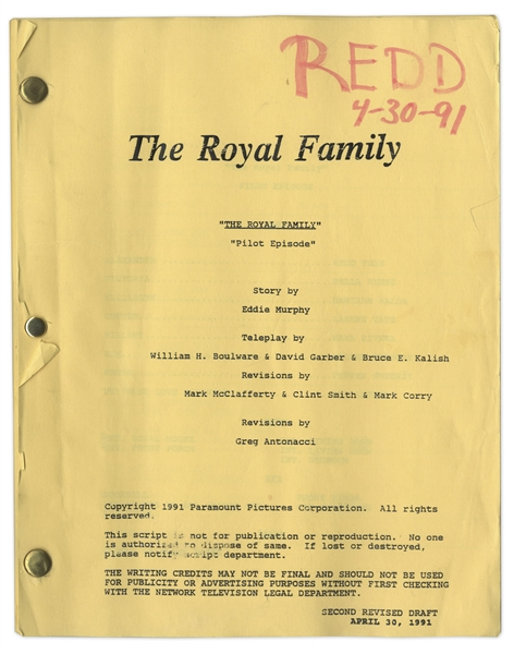 ''The Royal Family'' Pilot Second Revised Script Owned & Annotated by Redd Foxx of ''Sanford & Son'' -- Story by Eddie Murphy -- 52 Pages -- Very Good Condition -- From Redd Foxx Estate